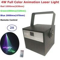 2 шт./лот Анимация Лазерный свет высокое Мощность 4 Вт RGB 3IN1 лазерный проектор освещения DMX512/Remote Управление этап диско эффект огни