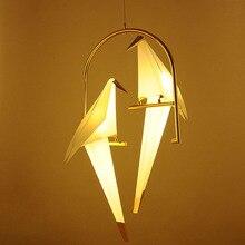 Modern Paper Crane Metal Chandelier For Restaurant Living Room Dining table lamp Childrens LED Bird Design Pendant Lamp
