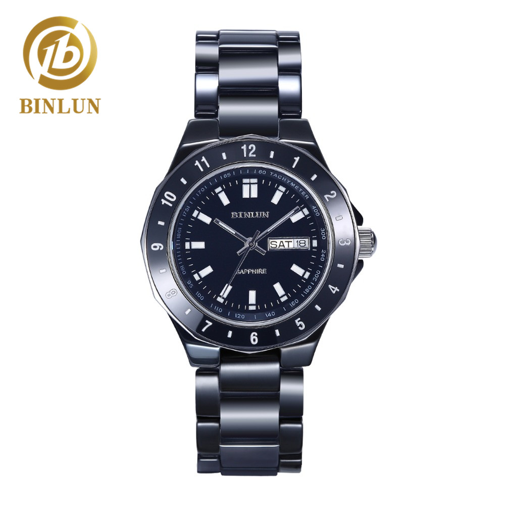 BINLUN Luxury Ceramic Quartz Watch For Men Classic Dial Auto Calendar Automatic Watch Waterproof Unisex Black White Couple Watch daybird 3785 unisex quartz wrist watch w hollow calendar black red white silver 1 x lr626