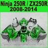 Body Kit Kawasaki Ninja 250r Fairings Glossy Green Year 2008 2009 2010 2011 2012 2013 2014