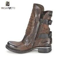 Prova Perfetto Winter Warm Flat Bottom Buckle Ankle Boots Square Toe Mature Zipper Side Genuine Leather Women Martin Boots