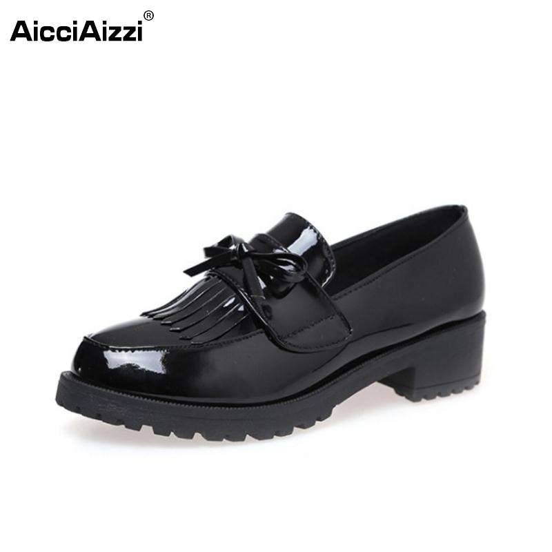 Female Patent Leather Flats Shoes Women Bowtie Tassel Flat Shoe Round Toe Office Ladies Leisure Students Footwears Size 35-39
