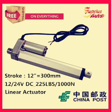 Free Shipping high quality 12V,300mm/ 12 inch stroke, 1000N/100KGS/225LBS load linear actuator send by China Post china post air mail free shipping 12v 325mm 13 inch stroke 1000n 100kg 225lbs load linear actuator