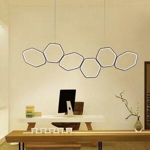 Image 4 - Lican Lampadario Moderno Led Hanglampen Voor Bar Keukens Kantoor Schorsing Cord Aluminium Cirkel Ringen Led Hanglamp