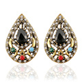 Female Vintage Clip Earrings Antique Bronze Retro Crystal Water Geometric Earrings For Women Fashion Jewelry Wholesale 2016