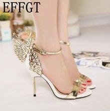 Effgt sandálias femininas de salto alto, sapatos effgt novas femininas sensuais, sapatos solteiros de borboleta para mulheres sandálias