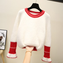2018 Winter New Fashion Thickened Warm O-Neck Women Sweater Mohair Bell Sleeve Casual Solid Color Loose Slim Simple Pullover(China)