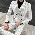 3 Peças Terno Homens Moda Double Breasted Terno Listrado Homens Plus Size Vestido De Casamento Do Smoking Blazer Set (Jaqueta + calça + Colete) M-5XL 4 Cores