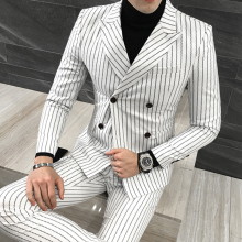 3Piece Suit Men Fashion Double Breasted Striped Men Suit Plus Size Wedding Dress Tuxedo Blazer Set(Jacket+Pant+Vest)M-5XL 4Color