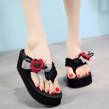 6CM High Heels Summer Women Flip Flops Fahion Outside Flower Wedges Slippers Bowtie