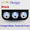 52mm Calibre Carro Tensão/Temperatura Da Água/Óleo Imprensa Metros Kit 3-em-1 Triplo Titular Carro Dashboard Gauges Preto
