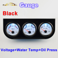 52mm Car Guage Voltage / Water Temperature / Oil Press Gauges   Black Holder  Car Meters  3-In-1 Kit Triple Dashboard