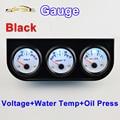 52mm Car Guage Voltage / Water Temperature / Oil Press Gauges   Black Holder  Car Meters  3-In-1 Kit Triple Dashboard