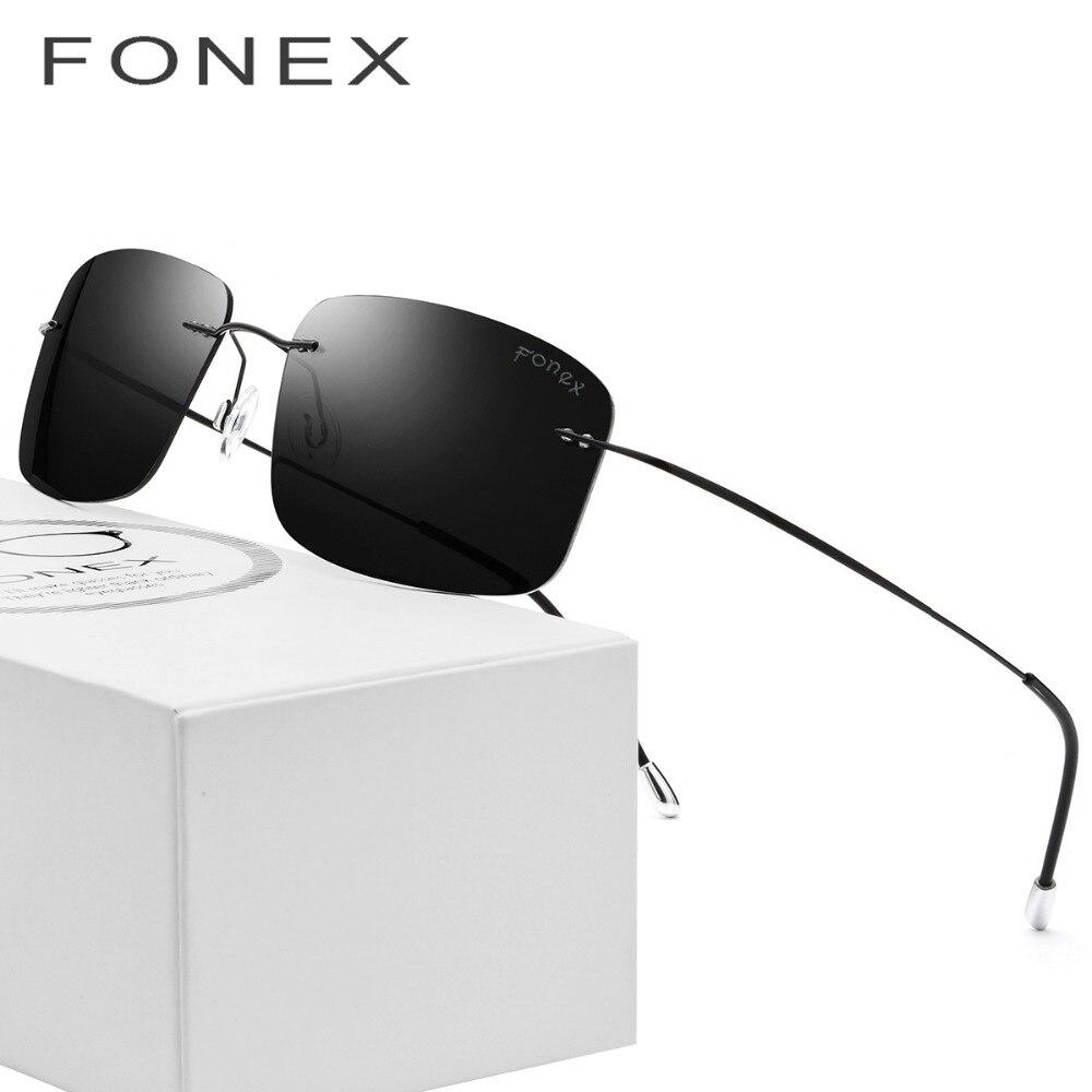 Rimless Polarized Sunglasses Men Ultralight 2018 Ultra Light Screwless Frameless Square Sun Glasses for Women Titanium Silhouett