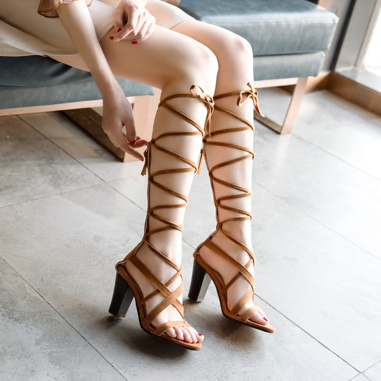 17f0a6170e4d CerdaChic Summer Fashion Women s Rome Style Gladiator Sandals Boho Lace Up  Suede High Heels Shoes for Ladies Brown Black