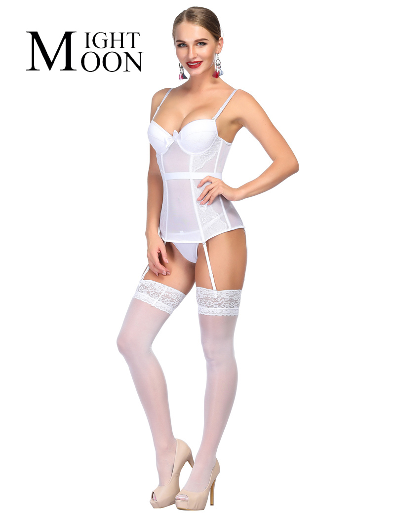 MOONIGHT Fashion Women   Bustier     Corset   Sexy Waist Cincher Bodydoll Charming White Solid Lingerie Firm shaper