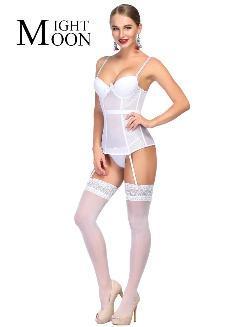 MOONIGHT Fashion Women   Bustier     Corset   Sexy Waist Cincher Bodydoll Charming White Solid Lingerie Firm shaper