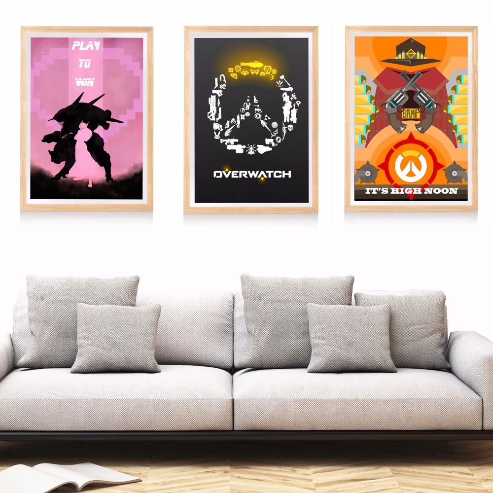 overwatch game artwork canvas art print painting poster. Black Bedroom Furniture Sets. Home Design Ideas