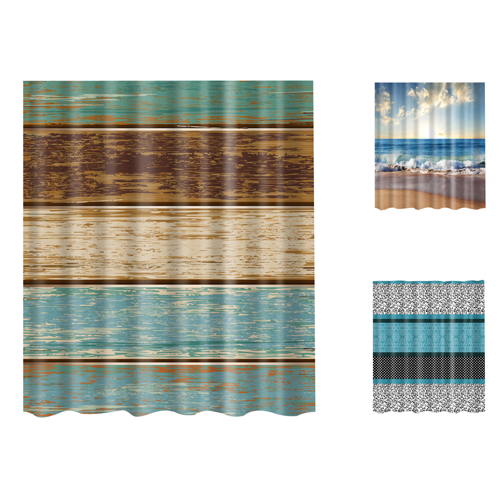 Bathroom Decor Fabric Bath Shower Curtain With 12 Hooks Ring Bathroom Use