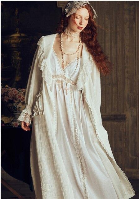 أنيقة الرجعية رداء المرأة مثير رداء مجموعة الدانتيل فساتين طويلة ثوب النوم سيدة قطعتين سيدة رداء النوم العروس مريحة