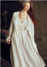Zarif Retro elbise kadın seksi Robe seti dantel uzun önlük gecelik bayan iki adet bayan Robe pijama gelin rahat