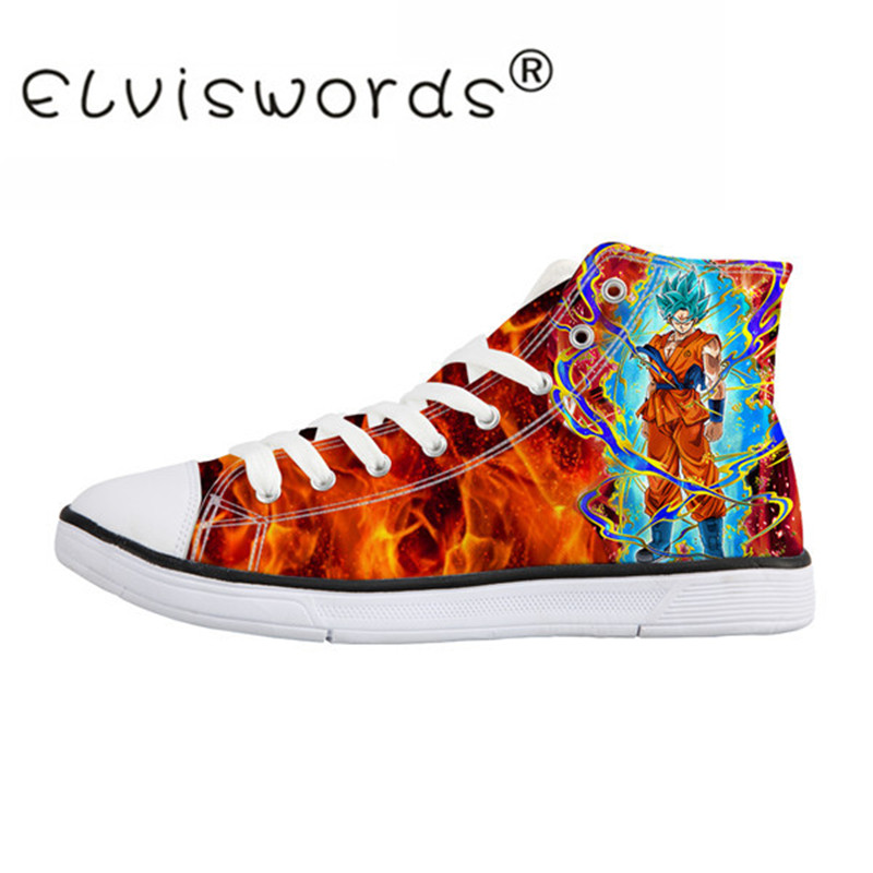 ELVISWORDS Cool Dragon Ball Men's High Top Canvas Shoes Lace-up Flats Men Vulcanize Shoes for Student Sneakers Dropshipping