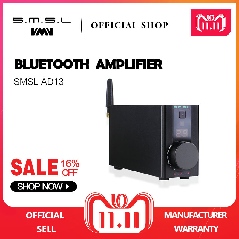 SMSL AD13 Bluetooth Pure Digital HIFI Amplifier 50W*2 USB Decoding Bluetooth 4.0 Power Amplifier with Remote Control Black стоимость