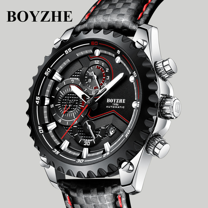 BOYZHE Automatic Watch Men Relogio Automatico Masculino Mechanical Wristwatch Mens Brand Luminous Sports Calendar Male Clock-in Mechanical Watches from Watches    1