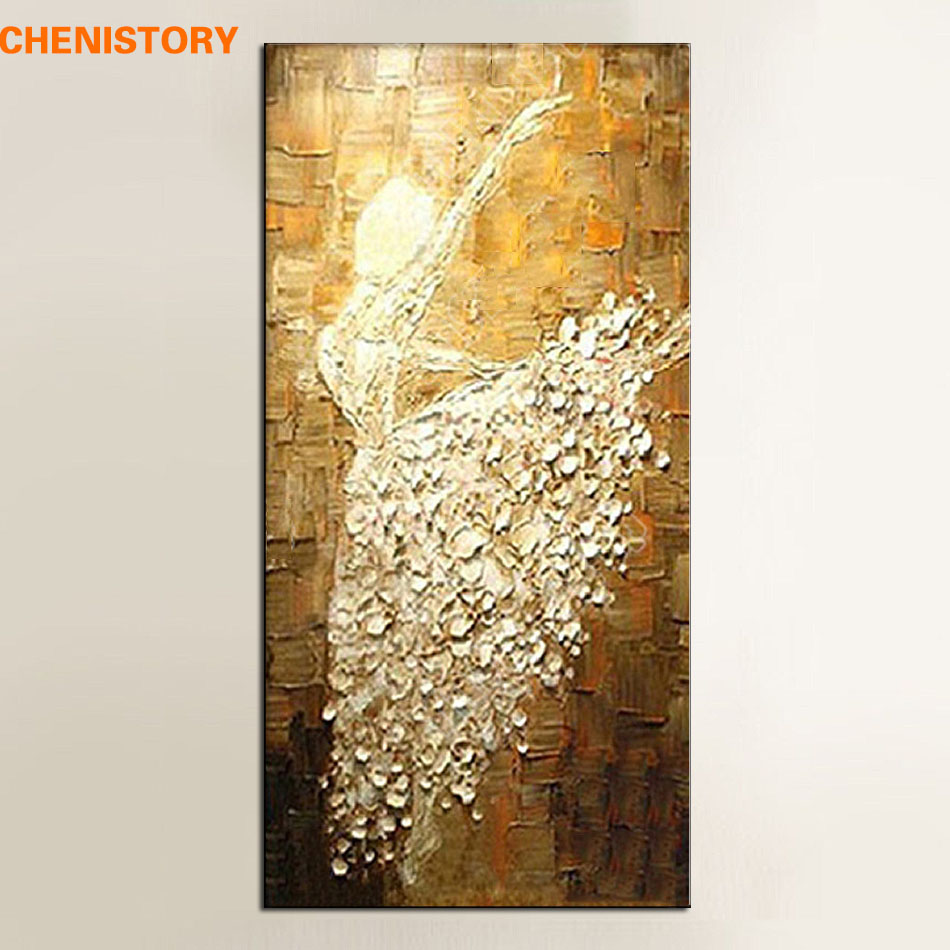 Unframed handmade texture knife ballet dancer abstract for Texture painting on canvas