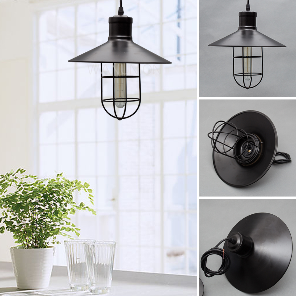 Vintage Retro Iron Edison Lampshade Ceiling Light Fitting Lamp Guard Wire Cage Bar Cafes Decor Lamp Cover Lamp Base 270x300mm art deco vintage industrial metal wire cage pendant light guard rustic ceiling mounted lamp cafe pub hotel porch bar