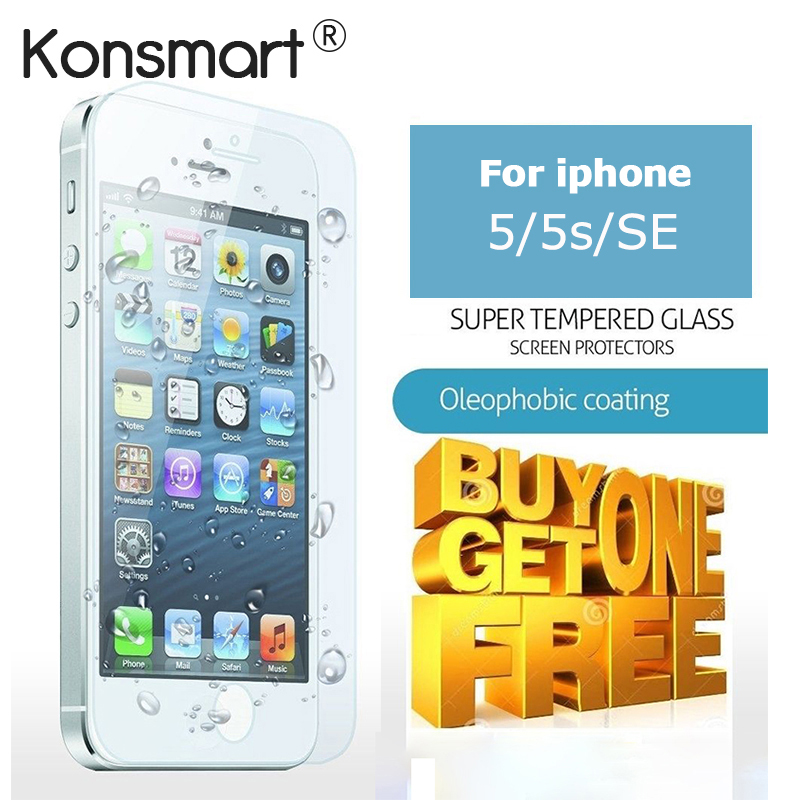 KONSMART Glass For iPhone 5 s Glass Screen Protector suit For iphone 5 screen protector Real Tempered Glass for iphone se