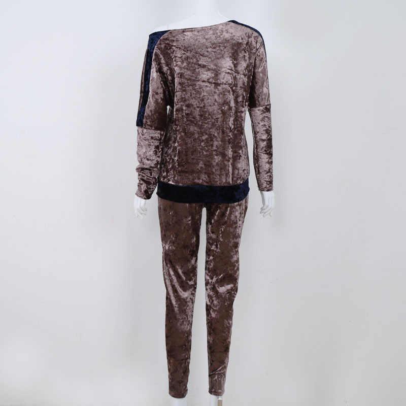 Модные бархатные комплекты из двух предметов, осенне-зимние женские комплекты, сексуальный костюм с вырезом лодочкой и длинным рукавом, теплый пуловер, комплекты, штаны, топы Gv143