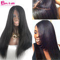 Italian Yaki Straight 4*4 Silk Top Glueless Full Lace Human Hair Wigs For Black Women Silk Top Lace Front Wig Virgin Human Wigs
