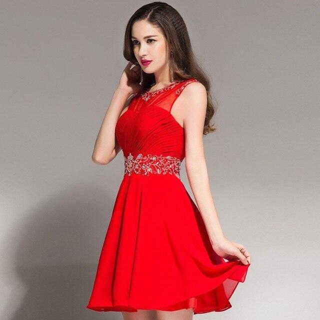 c65e1cebb Verano 2016 corto vestido de fiesta rojo Keyhole detrás rebordeado gasa  adolescentes tul Semi Formal del