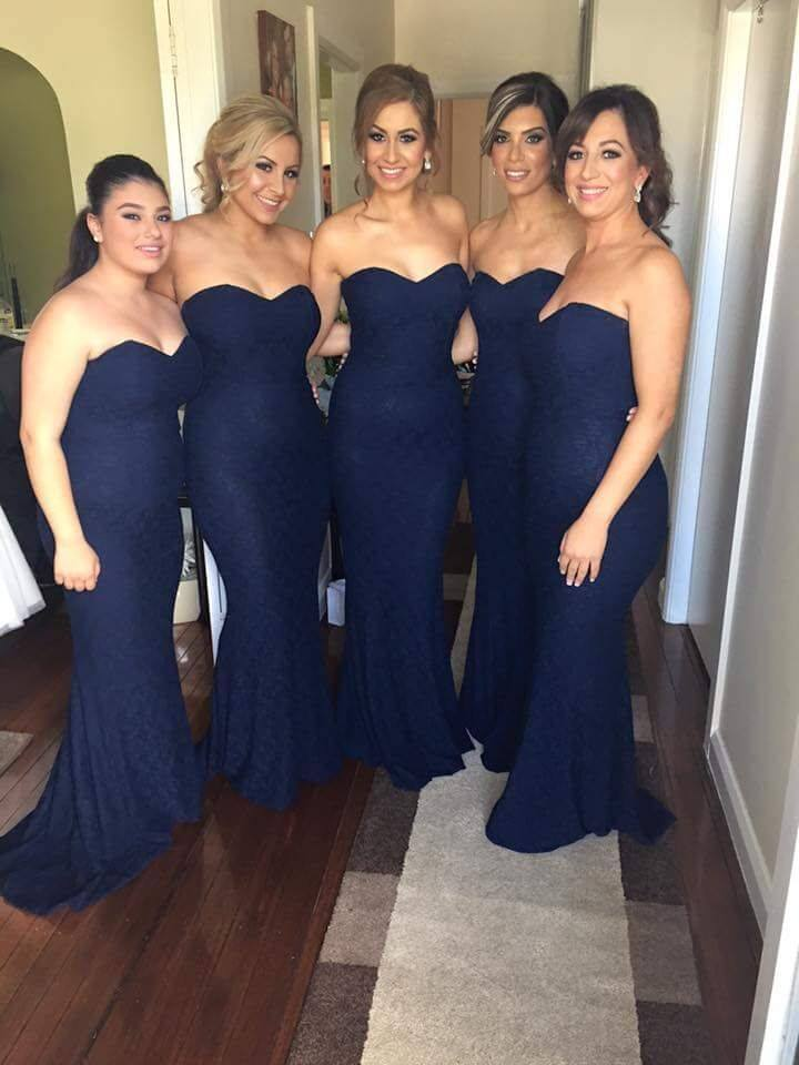 Navy Blue Cheap Bridesmaid Dresses Under 50 Mermaid Sweetheart Lace Backless Long Wedding Party Dresses For Women