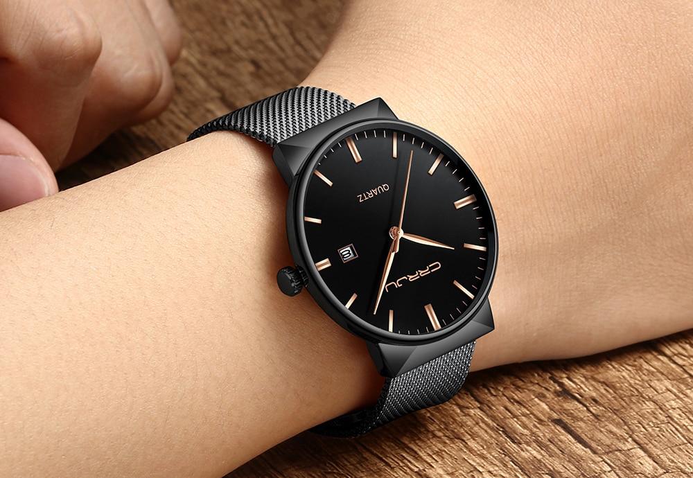 Luksusowa marka Black CRRJU Full Steel Quartz Watch Men Casual - Męskie zegarki - Zdjęcie 5