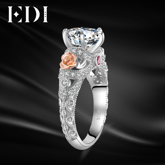 EDI Luxury Moissanites Diamond 14K 585 White Gold Engagement Ring For Women Wedding Band Jewelry Christmas