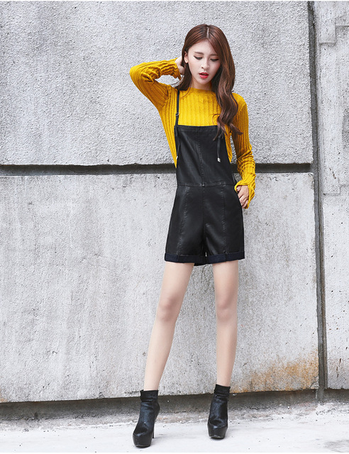 Euro 2016 PU overalls women short high quality plus size all match fashion black loose sexy Adjustable straps girl shorts K55
