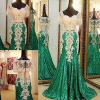 Свадебное платье с кристаллами и аппликацией в виде Русалочки, с пайетками, на заказ, с коротким рукавом, Vestido Longo, Robe De Soiree