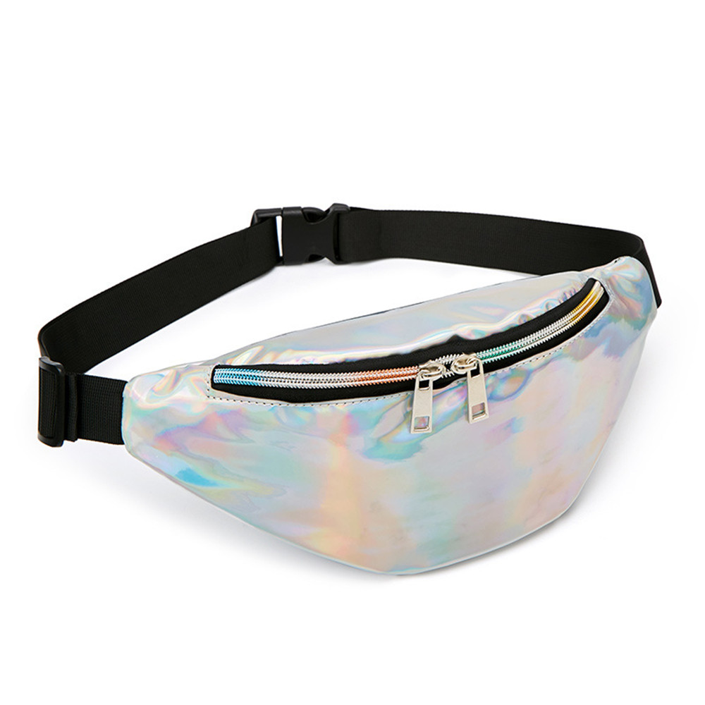 Fashion Sequin Women Waist Bag Fanny Pack Running Zip Belt Money Pouch Holiday Bag Travel Phone Chest For Teenager Girl Shoulder