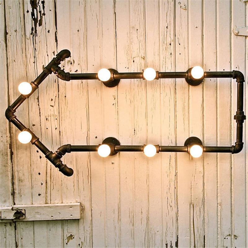 Bookshelf Wall Lamps Wrought Iron Water Pipe Light Bedside Wall ...
