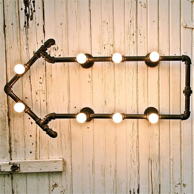 Bookshelf Wall Lamps Wrought Iron Water Pipe Light Bedside Wall ...