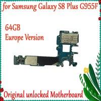 공장 잠금 해제 마더 보드 64 기가 바이트 삼성 갤럭시 S8 플러스 G955F 원래 마더 보드 IMEI 안드로이드 OS 로직 보드