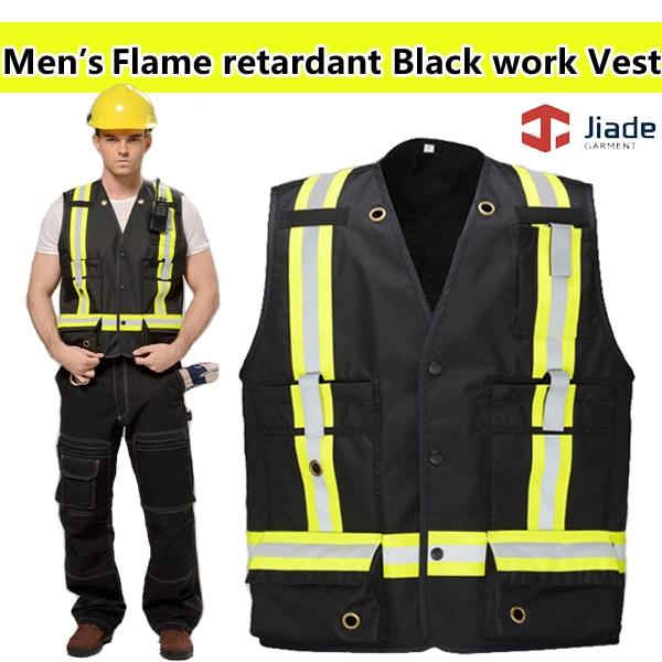 Jiade High quality flame retardant black vest Back 'X 'Pattern Reflective Stripes FR safety reflective vest