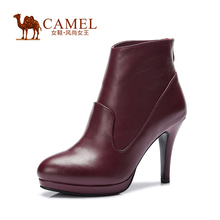 Camel leather shoes stained fashion elegant waterproof zipper spike heel winter boots new women's boots A54064608