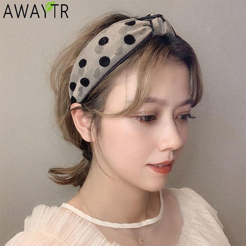AWAYTR Korean Hairband Vintage Dot Lace Wide Hair Bands Women For Hair Accessories Knotted Hair Hoop Velvet Elastic Headbands