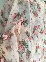3D Chiffon Printing Birdal Lace Fabric with Dust Pink Blossom for Women Summer Dress, Floral Girl Dress , Wedding Gown Costumes