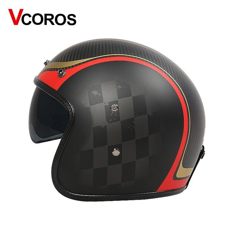 VCOROS Brand Carbon fiber Vintage motorcycle Helmet 3/4 Retro Motorbike helmet Harley open face moto helmets ECE approved