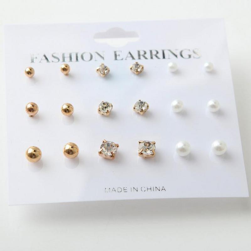 2017 New Simple Fashion Wild Rhinestones Pearl 9 Sets Of Ear Studs Earrings For Women Stud Earrings Pendientes Mujer Moda gold earrings for women