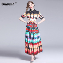 Banulin Fashion Designer Runway dress Spring Summer Women Dress Turn-down Collar Bee Beading Geometric Print Elegant Dresses